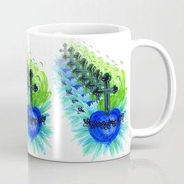 Sacred Heart, blue Coffee Mug