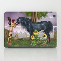 the last unicorn iPad Cases featuring The Last Black Unicorn by Simone Gatterwe