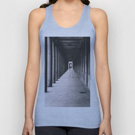 Arcade with columns in Copenhagen, architecture black and white photography Unisex Tank Top