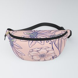 Floral Pattern Abstract Flowers Pink Poppies Petals Nature Garden Fanny Pack