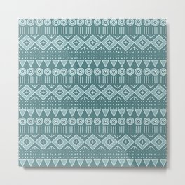 Mudcloth Style 2 in Teals Metal Print