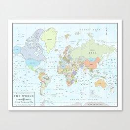 World Atlas & Bathymetry Map [color version] Canvas Print