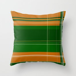 Green and Orange Plaid Throw Pillow