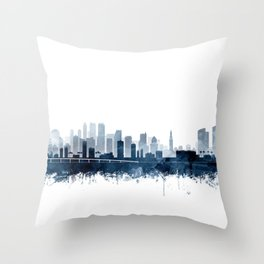 Miami Skyline Watercolor Navy Blue by Zouzounio Art Throw Pillow