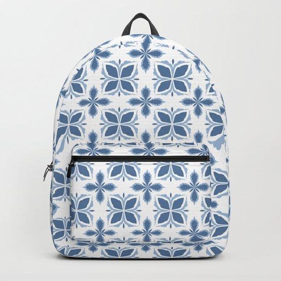 Damask pattern design in blue Backpack