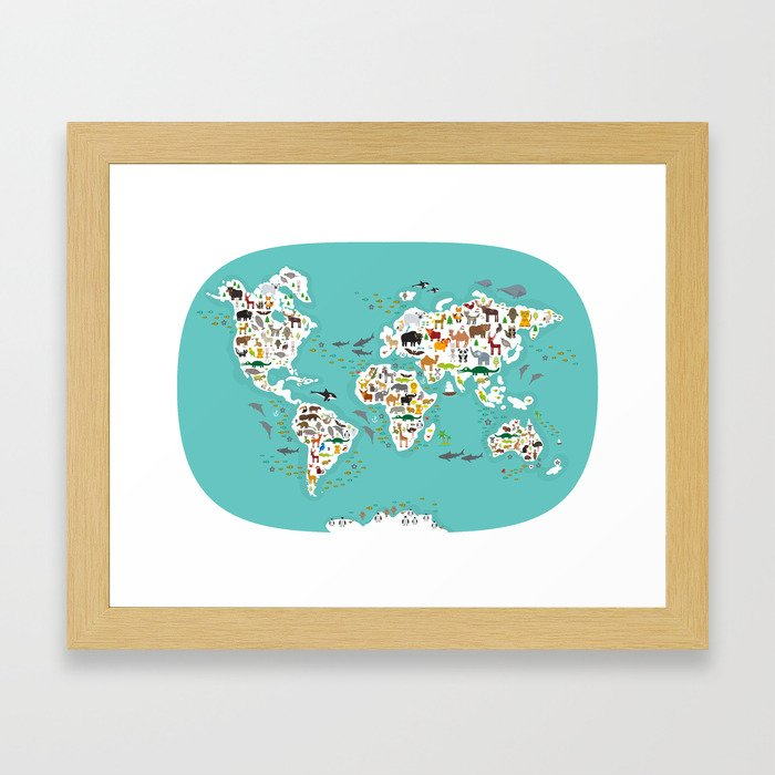 Cartoon animal world map for children and kids animals from all cartoon animal world map for children and kids animals from all over the world framed art print by ekaterinap society6 gumiabroncs Choice Image