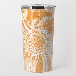 White Flower On Warm Orange Crayon Travel Mug