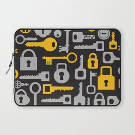 Silhouettes set of keys and locks on a black Laptop Sleeve