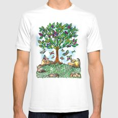 Flutterby Tree MEDIUM White Mens Fitted Tee