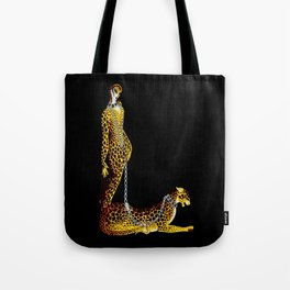 """Lady and the Leopard"" Art Deco Design Tote Bag"