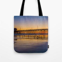 Seagulls at Sunset at Newport Pier Tote Bag