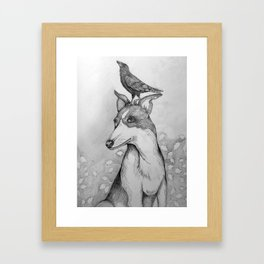 Dog and Crow Framed Art Print