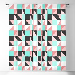 Modern Girly Pink Teal Triangle Square Geometric Blackout Curtain