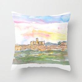 Assisi Skyline Italian Town at Sunset Throw Pillow