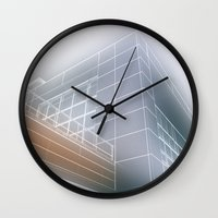 architect Wall Clocks featuring Minimalist architect drawing by Solar Designs