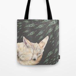 Fennec Fox Feather Dreams in Green & Grey Tote Bag