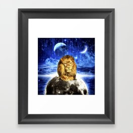 Grumpy Lion Framed Art Print