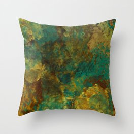 Turquoise, Gold, and Copper Abstract Throw Pillow
