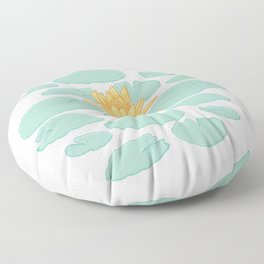 Water Lily Flower and Pads Illustration Floor Pillow
