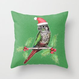 Christmas green cheeked conure Throw Pillow