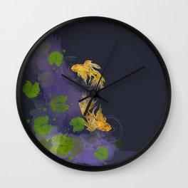 Dark Golden Waters Wall Clock
