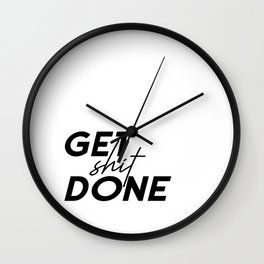 Get Shit Done, Typography Poster, Printable Art, Office Decor, Motivational Poster Wall Clock