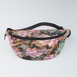 green and pink succulent plant garden texture Fanny Pack