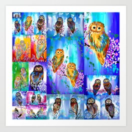 Owl with Bright Colors Art Print