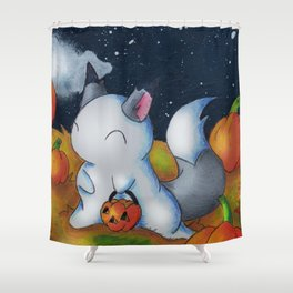 Ghost in the Pumpkins Shower Curtain