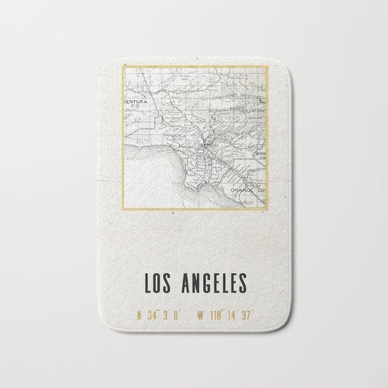 Vintage Los Angeles City Gold Foil Location Coordinates with map Bath Mat