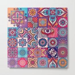 Boho Mhendi Quilt Pattern Metal Print