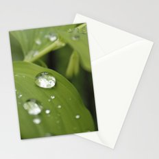 Green Leaves After Rain Stationery Cards
