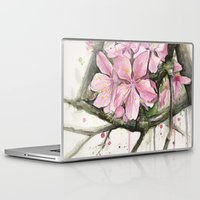 cherry blossom Laptop & iPad Skins featuring Cherry Blossom by Olechka