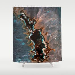 Earth treasures - Blue and orange agate Shower Curtain