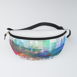 Pittsburgh Skyline Watercolor by Zouzounio Art Fanny Pack