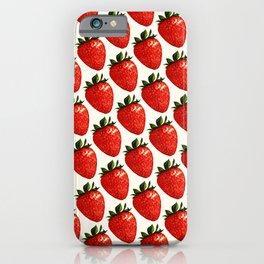 Strawberry Pattern - White iPhone Case