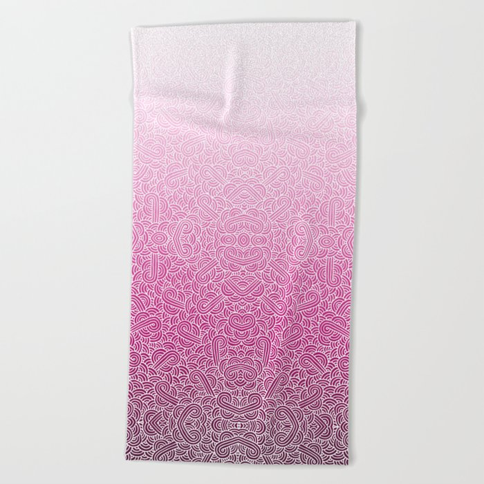 Ombre pink and white swirls doodles Beach Towel