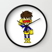 cyclops Wall Clocks featuring CYCLOPS by Space Bat designs