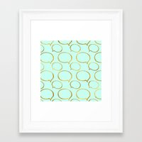 gold foil Framed Art Prints featuring Mint Gold Foil 01 by Aloke Design