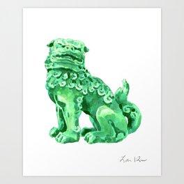 Foo Dog in Green 2 Art Print