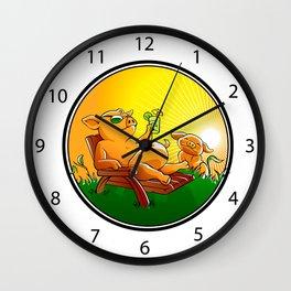Cute pigs cartoon Wall Clock
