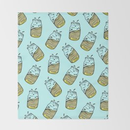 Cute Lemonade Mason Jar Summer Drink Teal Pattern Throw Blanket