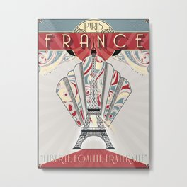 Paris France Travel Poster Metal Print