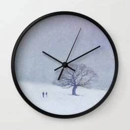 A walk in the snow. Wall Clock