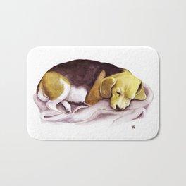Beagle Watercolor Painting Bath Mat