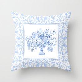 Blue & White Trellis Frame Throw Pillow