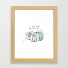 welcome autumn blue pumpkin Framed Art Print