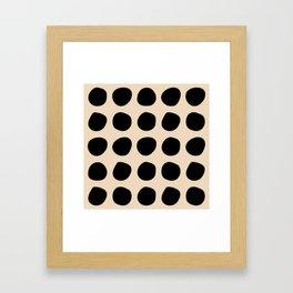 Irregular Polka Dots black and cream Framed Art Print