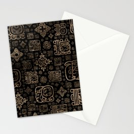 Mayan glyphs and ornaments pattern -gold on black Stationery Cards