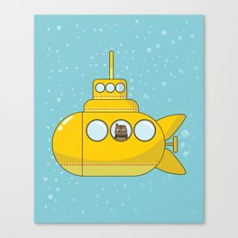 Yellow submarine with a cat and bubbles Canvas Print